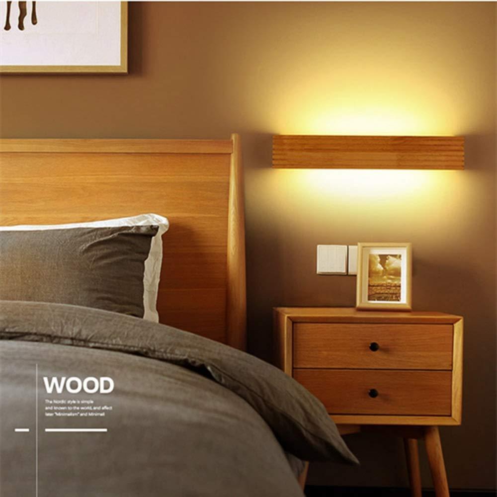L/ámpara de pared LED de madera Luz c/álida Nordic Rayas L/ámpara de madera maciza Dormitorio Cabecera Ba/ño Espejo rectangular Faros Iluminaci/ón para el hogar Aplique de pared de estilo japon/és Accesori