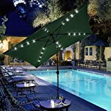 GHP 10x6.5' Green Rectangle Aluminum Pole Crank Tilt Solar Patio Umbrella w 20 LEDs