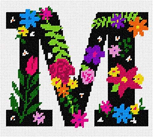 pepita Letter M Primary Floral Needlepoint Kit