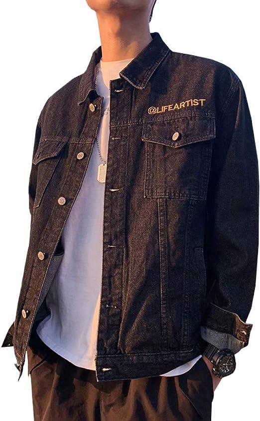 デニムジャケット メンズ 春秋 大きいサイズ ゆったり Gジャン 薄手 快適 防風 防寒 カッコイイ カジュアル ジージャン 合わせやすい 通勤 通学 お出かけ ファッション 刺繍 英字柄 ブラック ブルー M-4XL