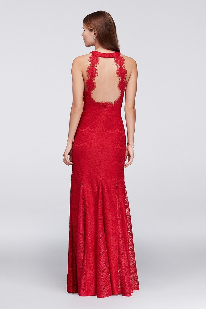 David's Bridal Lace Sheath Halter Long Dress with Scallops Style 12316, Red, 8 by David's Bridal (Image #2)