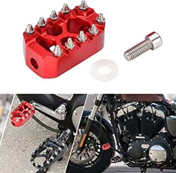 Goldfire Anti-Skid Gear Knurled Motorcycle Shifter Peg Shift Peg 360° Roating MX Chopper Bobber Style For Harley Touring Softail Sportster Dyna (Red)