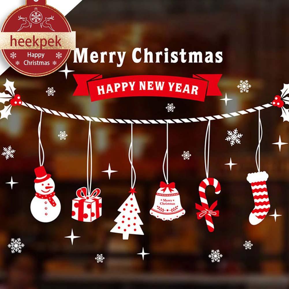 heekpek Christmas Window Decorations Christmas Trees and Angles Wall Stickers Removable Mural For Home Decoration Heekpek®
