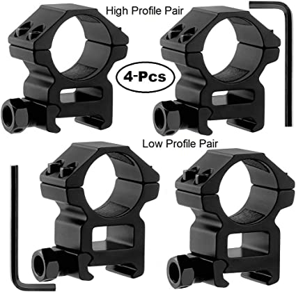 "4PCS 1/"" Inch Low Profile Rifle Scope Rings Heavy Duty for Picatinny//Weaver Rail"