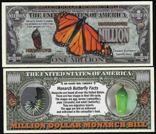 Monarch Butterfly Million Dollar Novelty Bill Facts - Lot 100 Bills