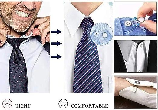 JERKKY Botones de Resorte, Extensores elásticos metálicos para el Cuello para la expansión de 1/2 tamaño del Extensor de Cuello para Hombres Botón Wonder para Camisas de Vestir: Amazon.es: Hogar