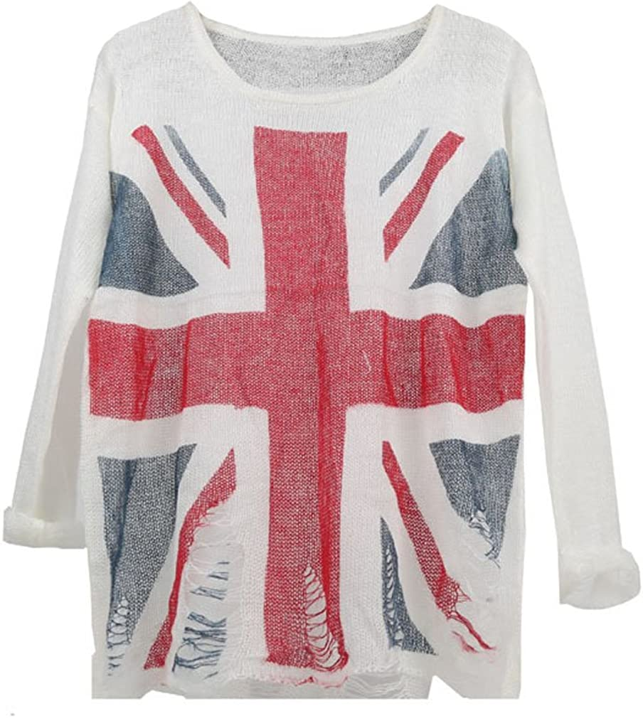 ACVIP Women Ladies National Flag Pattern Pullovers Tops