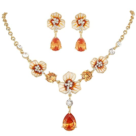 1940s Costume Jewelry: Necklaces, Earrings, Brooch, Bracelets EVER FAITH Gold-Tone Zircon Crystal Enamel 3 Flowers Tear Drop Necklace Earrings Set $25.99 AT vintagedancer.com