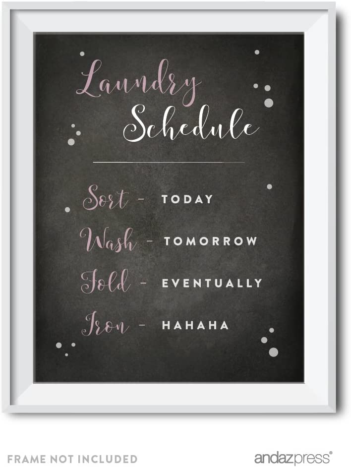 Andaz Press Laundry Room Wall Art Decor, Chalkboard Print, Laundry Room Schedule, 1-Pack, Poster Signs Unframed