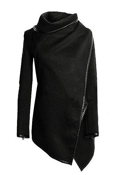 Mujer Abrigos Rompevientos Coat Outcoat Color Sólido Elegante De Originales Marca Moda Casual Mujeres Irregular Fiesta Cuello Alto Manga Larga Otoño ...