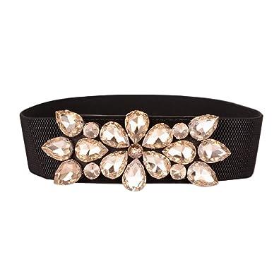 ba2a260d467b Arichtop Élégant strass femmes taille Ceintures Shinning cristal fille Lady  mince ceinture élastique Ceintures corset étroit