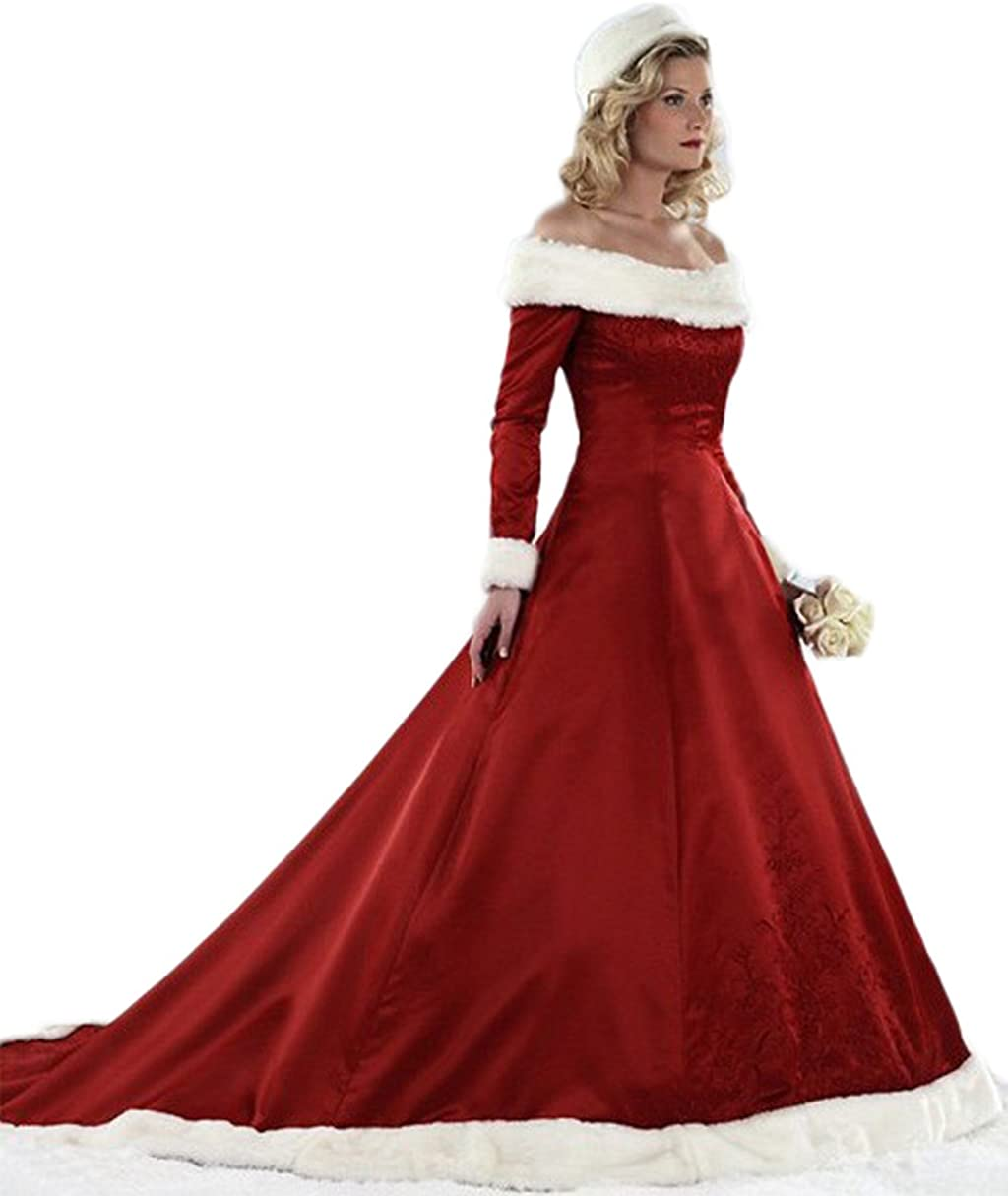 Chupeng Women\'s Long Sleeves Bridal Dresses Red Ball Gown for Christmas  Quinceanera Dress Plus Size Winter Wedding Dress