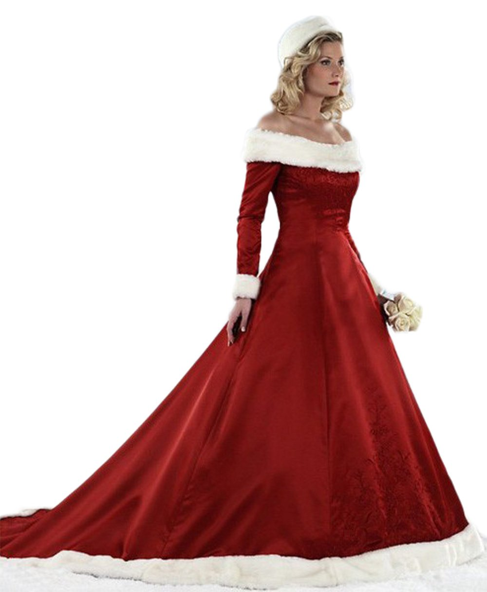 Chupeng Womens Long Sleeves A Line Bridal Dresses Red Ball Gown