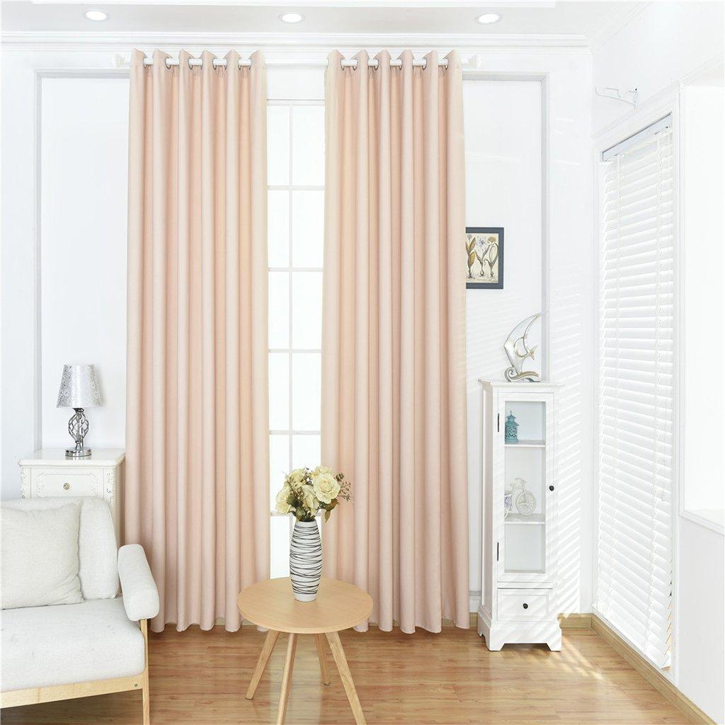 140x245cm Apricot Baoblaze Solid Darkening Lined Window Curtain Grommet Elegant Blackout Blind 55x96