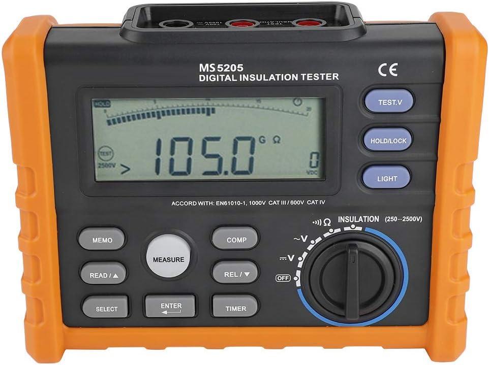 PM5205 Medidor de Resistencia Digital 2500V Aislamiento Megohm Tester 0.01MΩ-100GΩ - Resistencia Megger AC / DC Tester de Voltaje con Pantalla LCD Retroiluminación