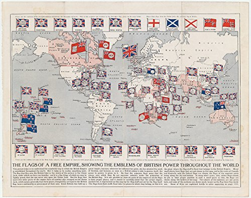 Home Comforts LAMINATED POSTER Map of The Flags of a Free Empire, Showing the Emblems of British Power Throughout the World Map of the British Empire (1910), by Arthur Mee POSTER PRINT 24 X 36 (Print 1910)