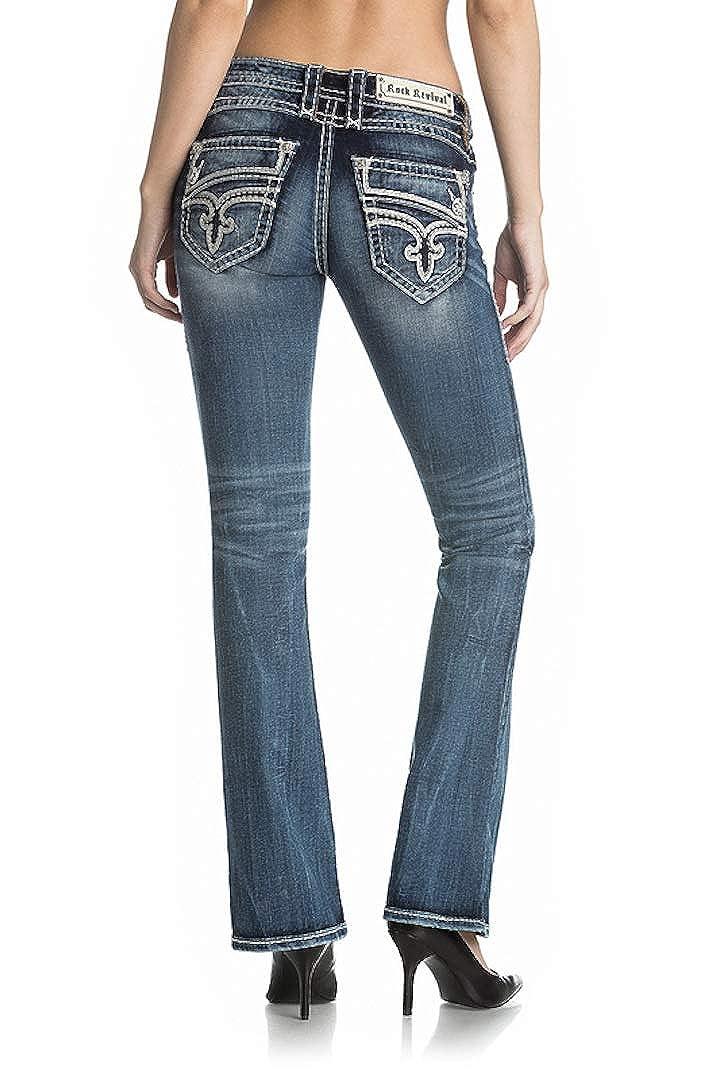 Rock Revival Gayna B200 Slanted Pocket Dark Wash Boot Cut Jeans RP2596B200 W Size 32 33 34