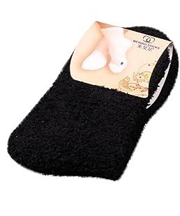 Momola Les femmes filles molles chaussettes moelleuses en hiver à la maison au sol couleur pure (Noir)