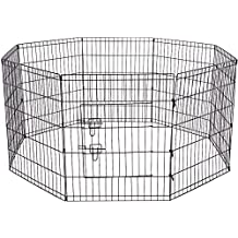 OxGord Metal Wire 8-Panel Folding Exercise Yard Fence for Pets, 24 Inch, Black