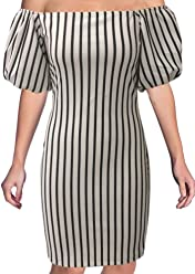 fa2695cb8d93 Love…Ady Smock Dress with Off-Shoulder Puff Sleeves White with Black Stripes