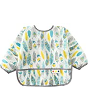 Baby Feeding Bib Adjustable Eating Bibs Waterproof Stain and Odor Resistant Smock Long Sleeve Painting Aprons Lightweight Washable Bibs with Large Pocket 6-12M