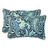 Pillow Perfect Outdoor Pretty Paisley Rectangular Throw Pillow, Navy, Set of 2