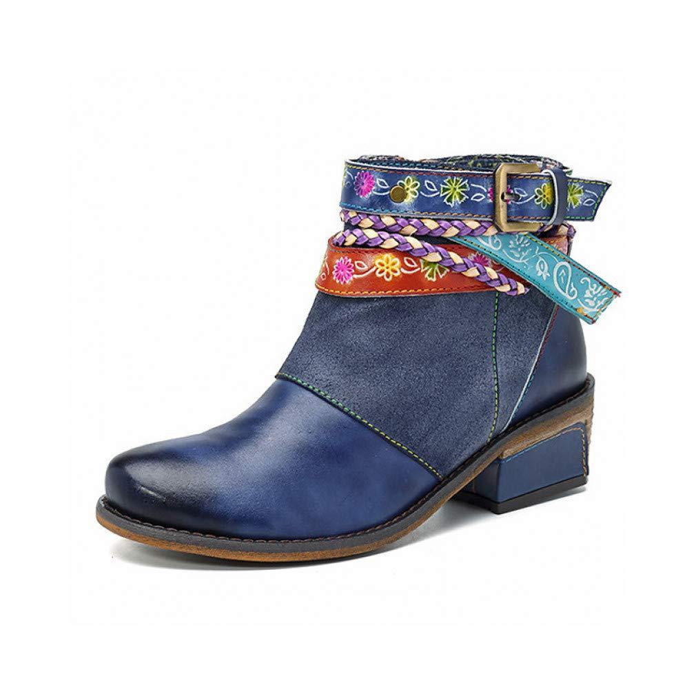 schuheHAOGE Damen Damen Damen Stiefelie Herbst Vintage Stiefel Low Heel Stiefelies Stiefeletten Blau b357ee