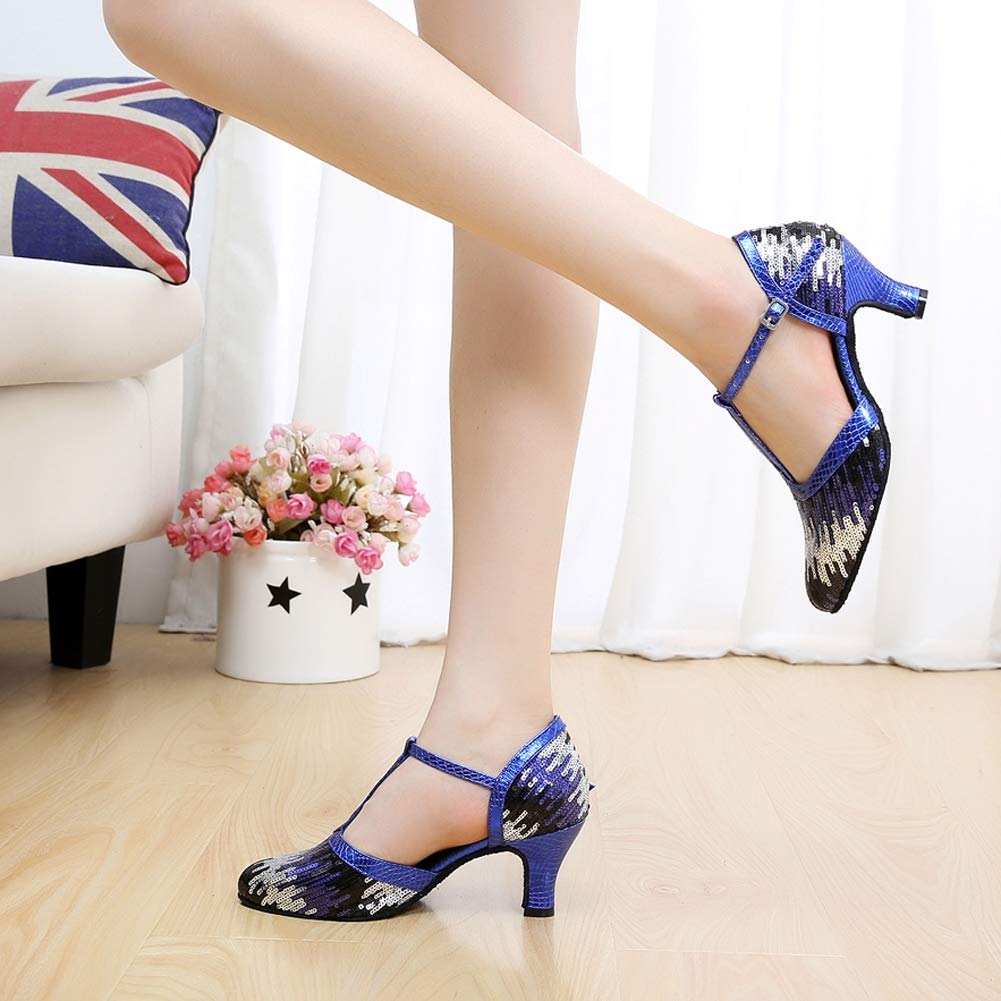JRYYUE Frauen Satin Lateinische Tanzschuhe Glitter T-Strap Dance Schuhe Schuhe Schuhe Geschlossene Zehe Funkelnde Glitzer B07PQBWQ2J Tanzschuhe Preisrotuktion dc32be