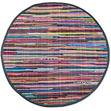 "DII Contemporary Reversible Indoor Area Rag Rug, Machine Washable, Handmade from Recycled Fabrics, Unique For Bedroom, Living Room, Kitchen, Nursery and more, 36"" Round - Multi Colored"