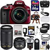 Nikon D3400 Digital SLR Camera (Red) & 18-55mm VR, 70-300mm DX AF-P, 35mm f/1.8G Lenses + 64GB Card + Case + Flash + Video Light + Tele/Wide Lens Kit