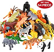 Animals Figure,54 Piece Mini Jungle Animals Toys Set,ValeforToy Realistic Wild Vinyl Plastic Animal Learning Party Favors To