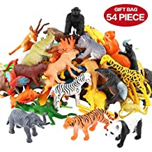 Animals Figure,54 Piece Mini Jungle Animals Toys Set,ValeforToy Realistic Wild Vinyl Plastic Animal Learning Party Favors Toys For Boys Girls Kids Toddlers Forest Small Farm Animals Toys Playset