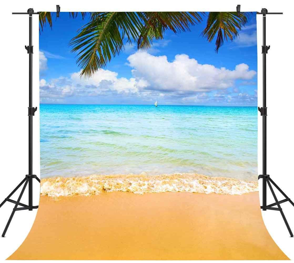 Tropical Beach Backdrop 5x7ft bluee Sky White Cloud Photography Background YouTube Photo Backdrop Studio Props PHMOJEN GEPH013
