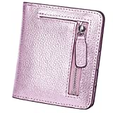 AINIMOER RFID Blocking Women's Leather Clutch Wallet Card Case Purse with Zipper Pocket(Rose Gold)