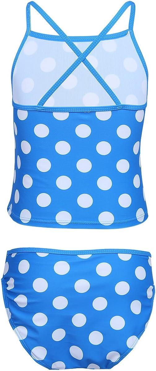 iEFiEL Little Girl Big Girls Summer Polka Dots Tankini Swimsuit 2Pc Swim Top Bottoms
