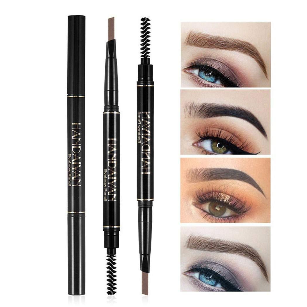 melysEU Le donne impermeabilizzano lo strumento automatico di trucco dell'occhio della matita del sopracciglio con la spazzola 1PC (Marrone chiaro)