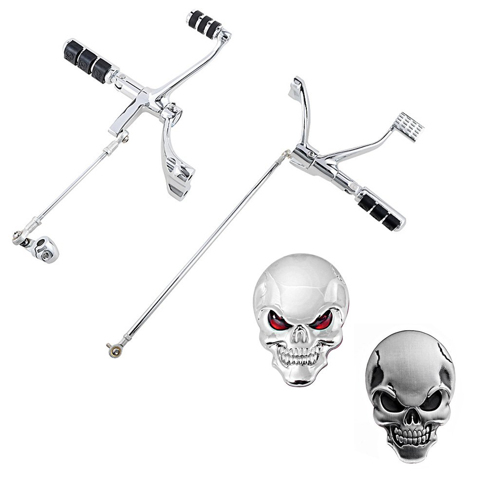 Chrome Forward Controls Complete Peg Levers Linkage with Mounting Accessories + 3D Chrome Skull Black & Red Eyes Emblems Sticker For 2004-2013 Harley Sportster XL883 XL1200