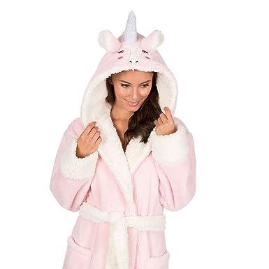 Ladies Luxury Soft & Cosy Hooded Dressing Gown Women Snuggle Fleece ...