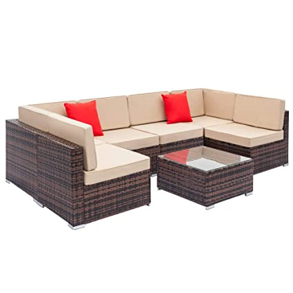Amazon.com : Kunell Set of 7 Weaving Rattan Sofa Fully ...