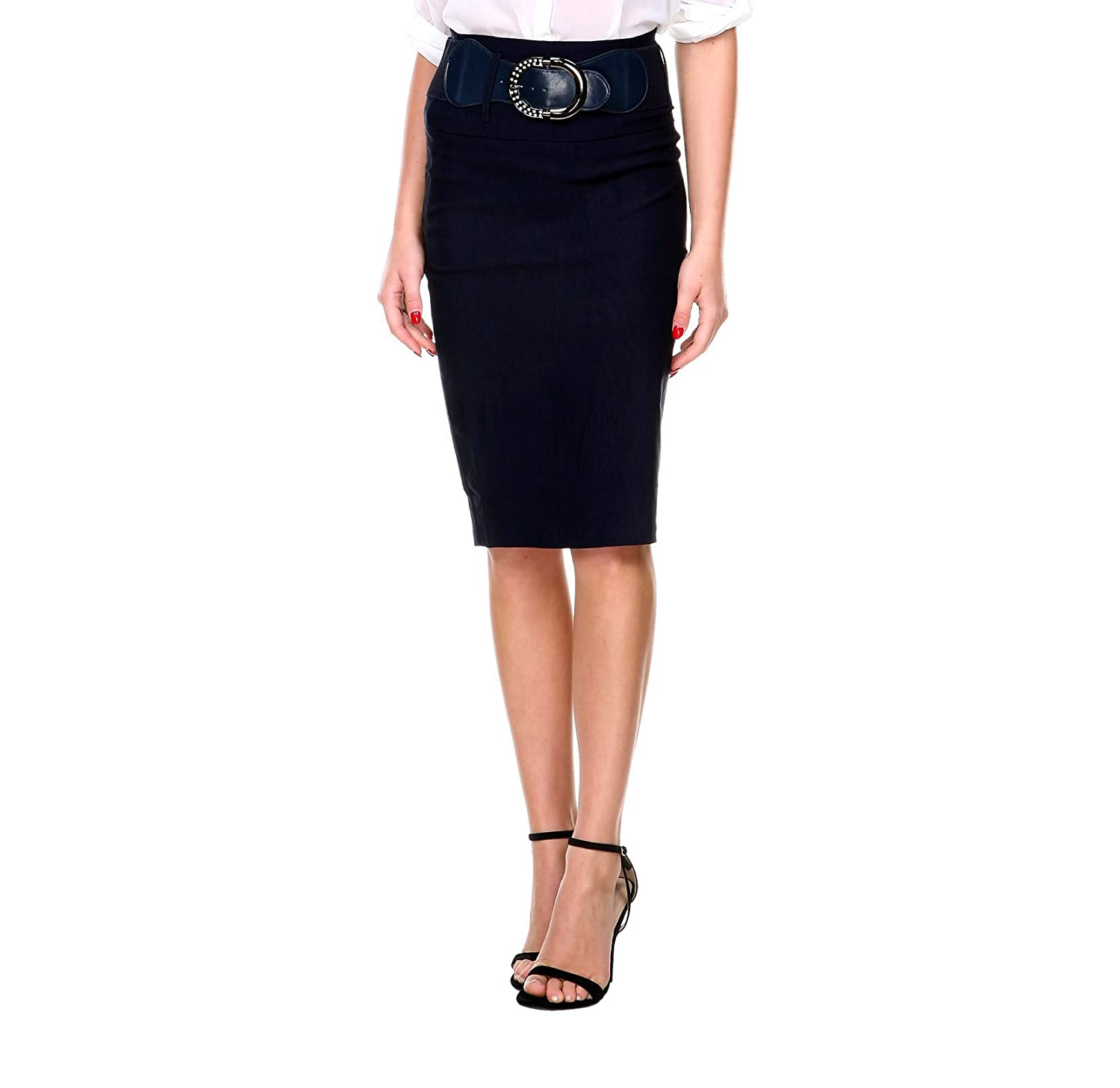 16fe9dda2 on sale Stanzino Women's High Waisted Belted Knee Length Pencil Skirt