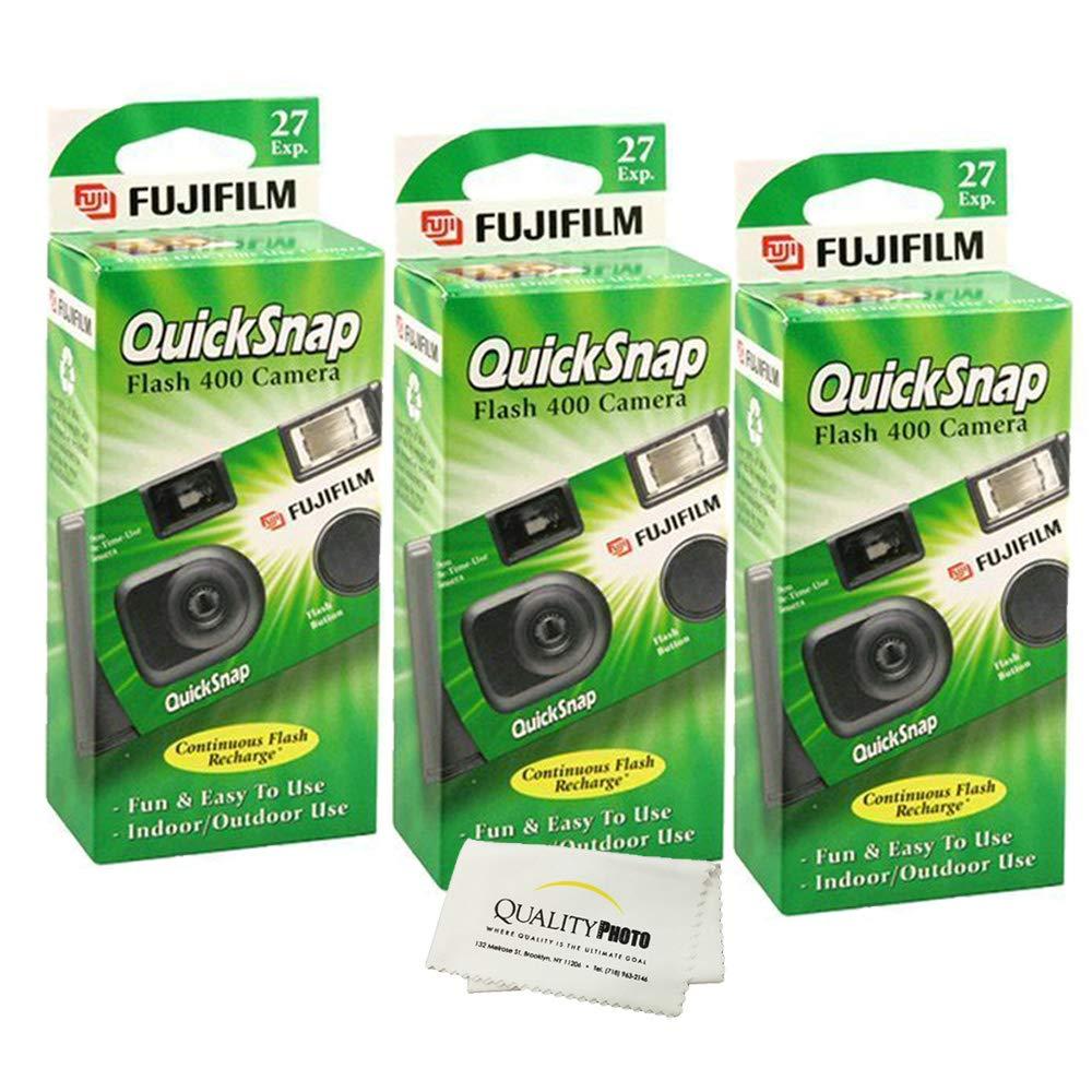 Fujifilm QuickSnap Flash 400 Disposable 35mm Camera + Quality Photo Microfiber Cloth (3 Pack)