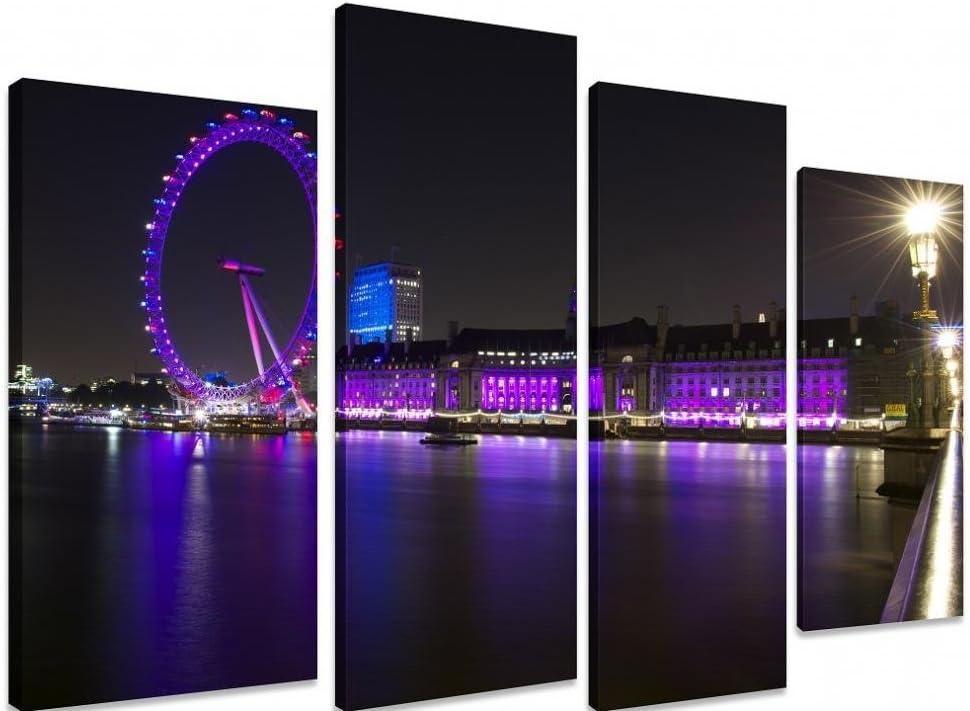 Multi Panel de cuadros en lienzo Art - enciende un-una City At Night London Eye río Támesis del puente de agua diseño de lugares de View - Art Depot de puerta de salida - 4 Panel - 101 cm x 71 cm (101