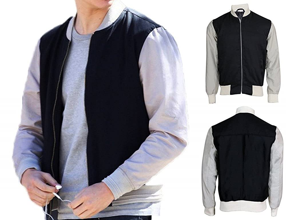 Fashions Maniac Ansel Elgort Baby Driver Cotton Fleece Varsity Letterman Jacket
