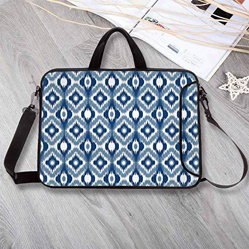 Ikat Wear-Resisting Neoprene Laptop Bag,Ethnic Ikat Design with Regular Multi Shaft Loom Uneven Twill Trend Motif Decorative Laptop Bag for Laptop Tablet PC,13.8
