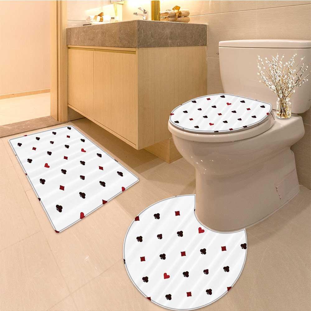 3 Piece Toilet mat setCasino Doodles Style Art Bingo Excitement Checkers King Tambourine Vegas Extralong Textures Non-Slip Bathroom Mats Contour Toilet Cover Rug by NALAHOMEQQ