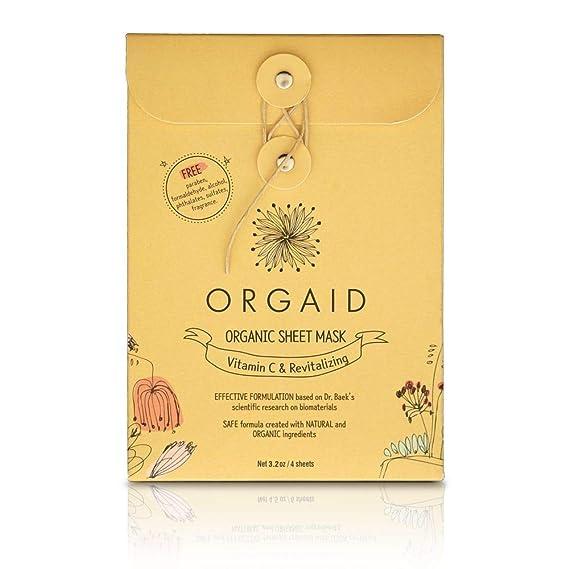 ORGAID - Máscara de hoja orgánica fabricada en Estados Unidos (vitamina C y revitalizante, paquete de 4): Amazon.es: Belleza