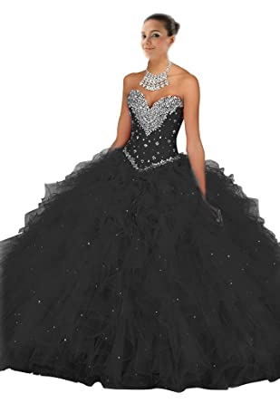 Mollybridal Sequin Ruffles Ball Gown Quinceanera Prom Dress Rhinestone Black 2