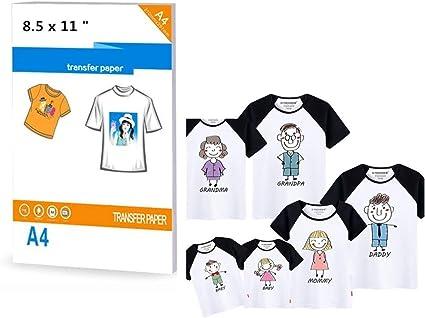 stampanti formato A4 con ferro da stiro per tessuti di colore chiaro 10 fogli di carta trasferibile per magliette
