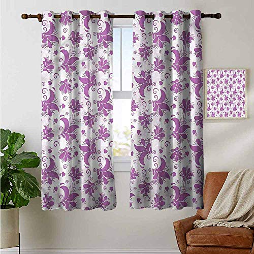 fengruiyanjing Extra Long and Wide Curtain Personalized for Home Decoration, Floral, Monochrome Petals and Hearts (Set of 2 Panels)