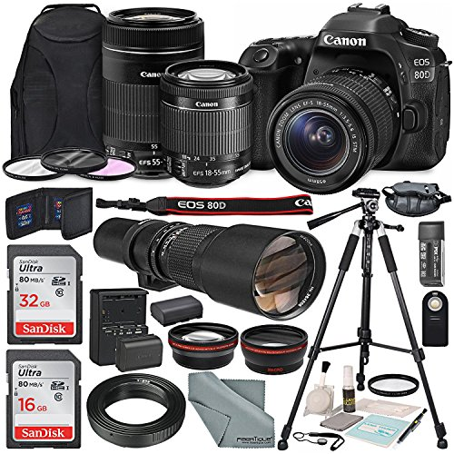 Canon EOS 80D DSLR Camera with EF-S 18-55mm f/3.5-5.6 IS STM Lens & EF-S 55-250mm f/4-5.6 IS STM Lens and 500mm f/8 Manual Focus Telephoto Lens + T-Mount Adapter along with Deluxe Bundle by Photo Savings